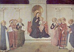 The Maestà (Madonna enthroned) with Saints Cosmas and Damian, Saint Mark and Saint John, Saint Lawrence and three Dominicans, Saint Dominic, Saint Thomas Aquinas and Saint Peter Martyr; San Marco, Florence