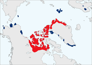 The map shows the distribution of muskox. The ...