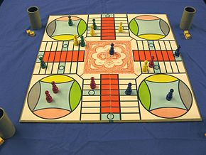 Parcheesi   Wikipedia A game of Parcheesi in progress