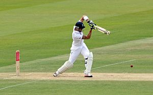 Kevin Pietersen driving through mid-on during ...
