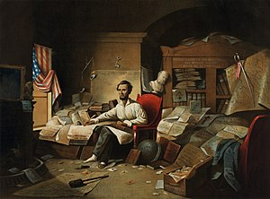 President Lincoln writing the Proclamation of ...