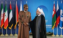 Buhari with Iranian President Hassan Rouhani during the Third GECF summit