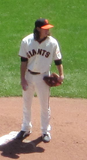 San Francisco Giants pitcher Tim Lincecum duri...
