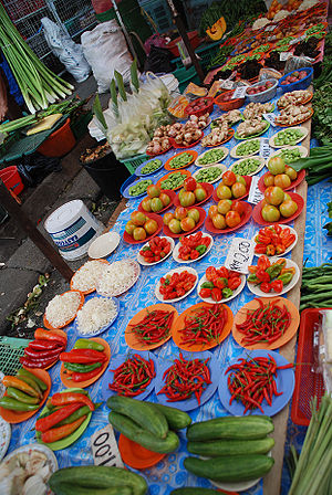 Weekend Market in Kuching, Sarawak, Borneo, Ma...