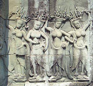 Hindu devatas depicted on the walls of Angkor ...