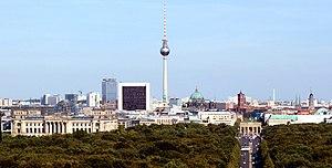 Berlin Cityscape, shot from Siegessäule (warme...