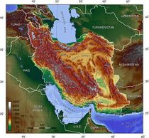 Iran (Persia) with Black, Caspian and Arabian ...