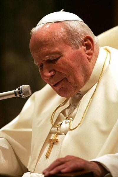 Pope John Paul II speaking ino microphone, 2004