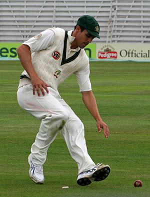 Australian cricketer Mitchell Johnson fielding...
