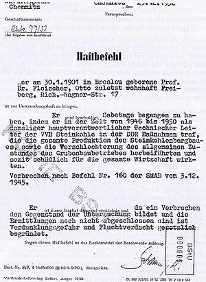 Deutsch: Haftbefehl für Otto Fleischer vom 23....