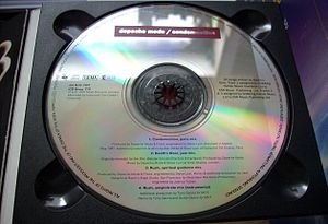 Label side of a Compact Disc with corrosion on...