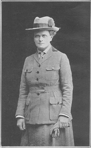 Elsie Inglis in 1916 on her return from Serbia