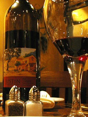 Red wine from Justin Vineyards