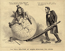 Cartoon of Lincoln and Johnson attempting to stitch up the broken Union
