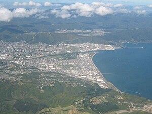 Lower Hutt in New Zealand. Looking eastwards f...
