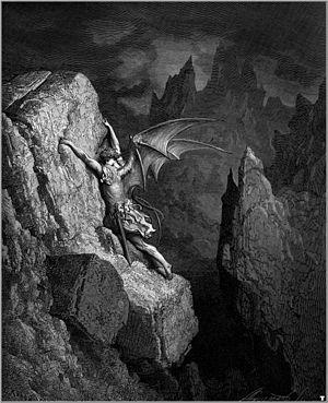 Satan struggles through hell in a Gustave Doré...