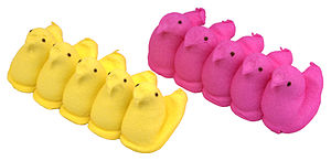 English: Two rows of yellow and pink Easter Pe...