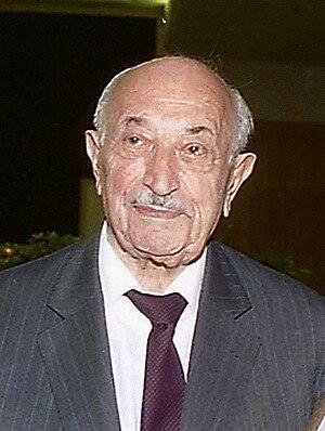 nazi hunter Simon Wiesenthal during meeting (e...