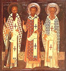 The Three Satellites of the Holy Trinity: Sts. Basil the Great, John Chrysostom and Gregory the Theologian.