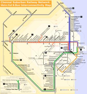 Map of the Chennai suburban railway network an...