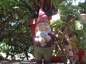 English: a mushroom-holding garden gnome Neder...