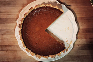 Charlie made a Pumpkin Pie for Halloween.