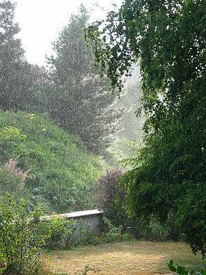 Rain falling
