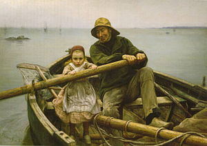 """A Helping Hand"". 1881 painting by E..."