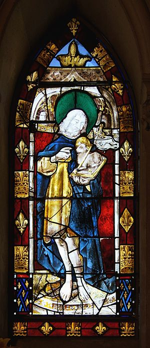 St John Baptist. Stained glass window, Chateau...