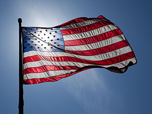 Flag of the United States of America, backlit,...