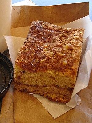 Walnut cinnamon coffee cake with chai latte