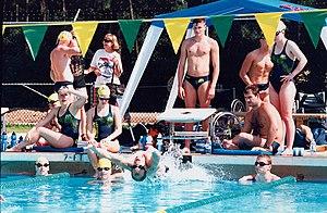 English: Australian swimmers at the training p...