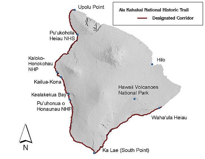 English: Map of the Ala Kahakai National Histo...