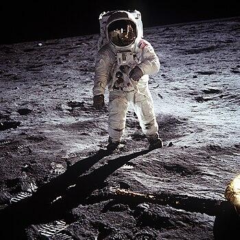 Buzz Aldrin walks on the moon, July 20, 1969