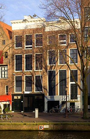 The Anne Frank House alongside the Prinsengrac...