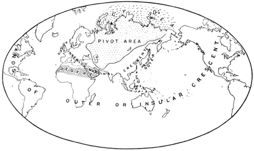 """Map of the """"Heartland Theory"""", as published by Mackinder in 1904."""