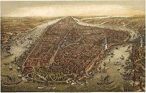 English: Bird's eye panorama of Manhattan & Ne...