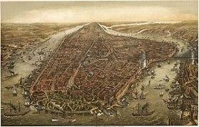 English: Bird's eye panorama of Manhattan & Ne...