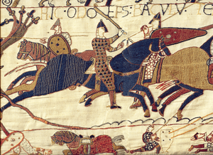 A detail from the Bayeux Tapestry illustrating...