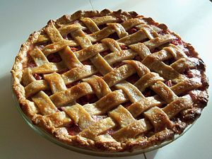Fresh rhubarb pie with lattice crust.