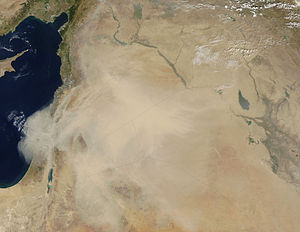 English: Dust storm in the Middle East