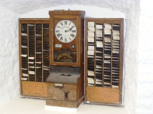 Time clock in the Museum at Wookey Hole Caves