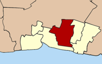 Kaart van Samut Prakan met de Amphoe Bang Phli aangegeven