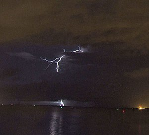 Lightning strikes southwest of Darwin, NT, Aus...