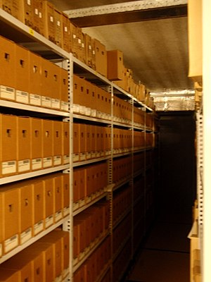 Archive boxes in the archive of the Netherland...
