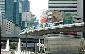 Bangkok Skytrain, BTS Skytrain approaching Sal...