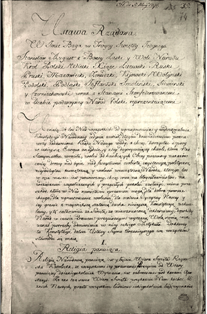 Manuscript of the Constitution of the 3rd May 1791
