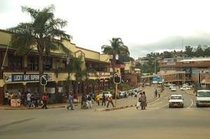 English: A picture of down town Mbabane.