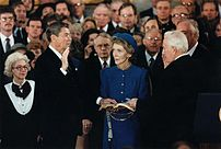 President Reagan being sworn in for second ter...