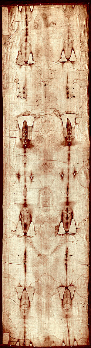 Full-length photograph of the Shroud of Turin ...